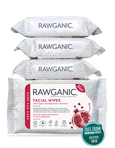 RAWGANIC Lingettes Bio Anti-âge   Démaquillantes & Hydratantes   Coton Biologique Biodégradable   Grenade & Aloe Vera   Sans Parfum (Lot de 4 paquets soit 10 lingettes)
