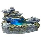 Mystischer Steinoptik Gartenbrunnen mit Beleuchtung