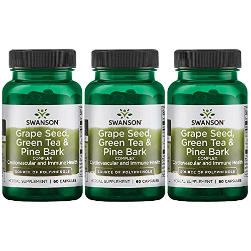 Swanson Grape Seed Green Tea & Pine Bark Complex Heart Cardiovascular Immune Support Health Antioxidant Healthy Blood Pressure Support Polyphenols OPCS Herbal Supplement 60 Capsules (Caps) (3 Pack)