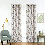 Anjee Blackout Curtain Panels with Tropical Plants Printed for Bedroom & Girls Room, Thermal Insulated Grommet Top Blackout Draperies 2 Panels, W52 x L95 Inch