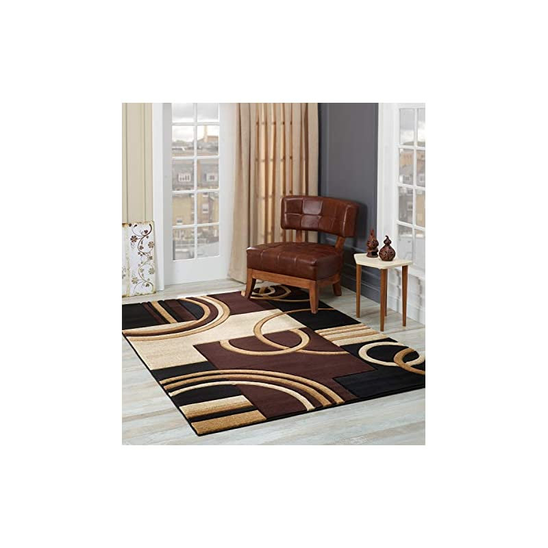 silk flower arrangements glory rugs area rug modern 8x10 brown soft hand carved contemporary floor carpet with premium fluffy texture for indoor living dining room and bedroom area