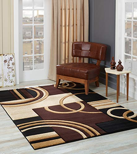 Glory Rugs Area Rug Modern 5x7 Brown Soft Hand Carved Contemporary Floor Carpet with Premium Fluffy Texture for Indoor Living Dining Room and Bedroom Area