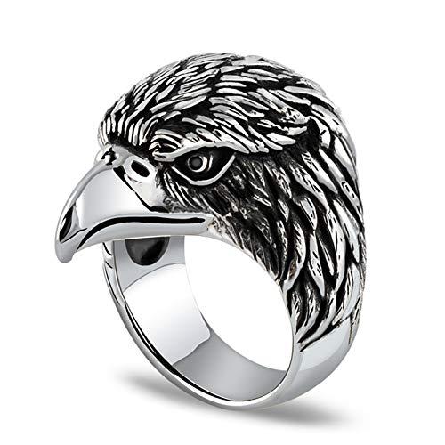 JIEHED Anillo de guila retro de acero inoxidable para hombre, escultura Skyhawk, anillo de ciclista, tamao 8  12, anillos de disfraz de moda para mujer