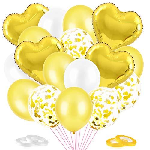 O-Kinee Luftballons Gold, 50 Stück Gold Konfetti Balloons Set, Gold Herzförmiger Aluminiumfolienballon, Helium Ballons Gold für Junge Geburtstag, Babyparty, Hochzeit, Geschäftstätigkeit