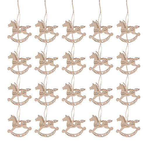 Healifty - 20 adornos navideños para decoración de árbol de Navidad, madera, forma de caballo, balancín de madera, etiquetas de regalo para bodas, Navidad, vintage, rodajas de madera para pintura DIY
