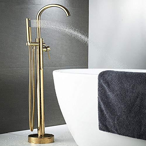 N\C LX Conjunto De Ducha-Bronce Dorado Bañera De Pie Retro Grifo Caliente Y Frío Chaise Shower/Column Shower Grifo De Bañera Separado LX