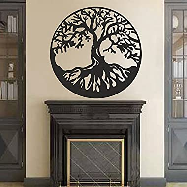 BATTOO Tree of Life Vinyl Wall Decal Sticker - Celtic Tree Life Wall D¨¦cor Culture Symbol Office Living Room Yoga Studio Wall Decoration(32  h x32 w,Black)