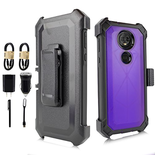 for 6.0' Moto E5 Plus Case, 2018 Motorola Moto E5 Supra Phone Case 360° Cover Screen Protector Belt Clip Crystal Holster Kick Stand Shock Bumper Value Bundle (Purple)