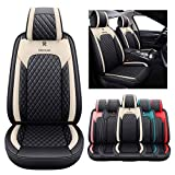 2 Front Seat Covers for Cars Leather Waterproof Vehicle Cushions Universal Fit for Kia Soul Sorento Optima Sporage Mazda Toyota Chr Prius Venza Fj Cruiser Jeep Wrangler(2 PCS Front, Black-Beige) -  YITAI