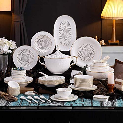 YLJYJ Plato Llano de cerámica Juegos de vajilla de 33 Piezas, Juegos de vajilla de Porcelana, Platos y Cuencos Grises Pizarra Aptos para Horno Juego de plat