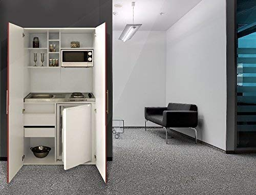 respekta Single Büro Pantry Küche Miniküche Schrankküche weiß rot Ceran Mikrowelle