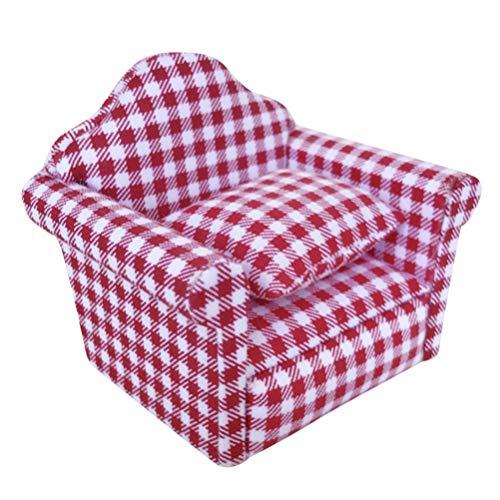 VOSAREA Mini Sessel mit Kissen Puppenhaus Wohnzimmer Möbel Puppenhausmöbel 1:12 Sessel Puppenhaus Zubehör Deko ca. 9.1x 6.4 x 7.2cm (Rot und Weiß)