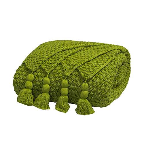 MYLUNE HOME 100% Baumwolle Luxus Stilvolle Strickdecke für Fernsehen oder Nap auf dem Stuhl, Sofa und Bett 130 * 160cm (Grün)