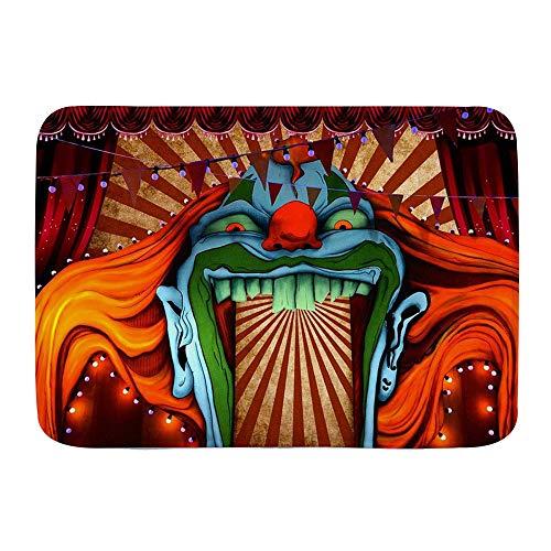 JOSENI Alfombra Decorativa para el Baño,Horror Circo Carnaval Tema Víspera de Halloween Fotografía Fondo,Alfombrilla Antideslizante,75 x 45 cm