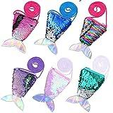 Borsa con paillettes a sirena - WENTS 6 PCS Mini borsa a coda di pesce, borsa a tracolla per bambina, può contenere monete, chiavi, carte, caramelle, snack o altre mini cose