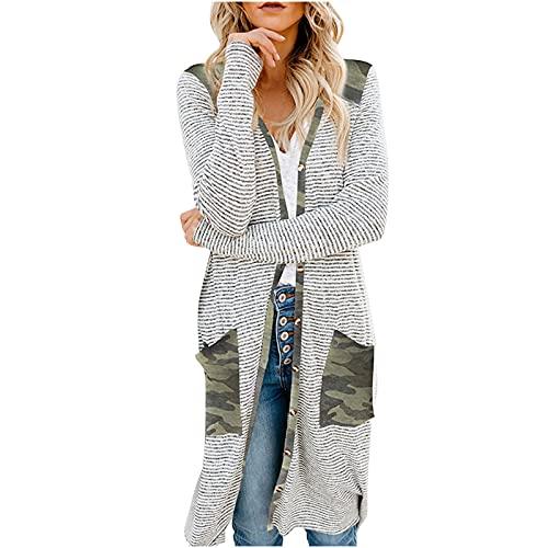 UEsent Cárdigan para mujer, parte superior impresa, sudadera con bolsillo, jersey largo, jersey de otoño, blanco, verde, rosa, elegante, cálido, Verde-g., XL