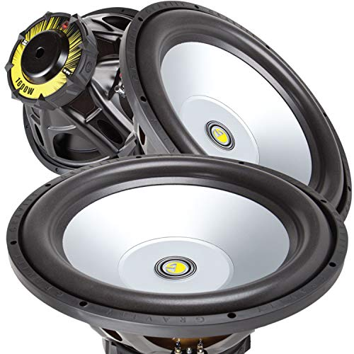 Pair of Gravity 15 Inch 3200 Watt Car Audio Subwoofer w/ 4 Ohm Power (2 Woofers)