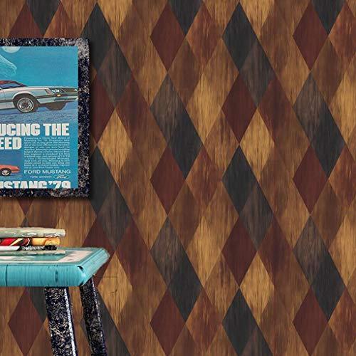 Papel Pintado Wallpaper Estilo industrial del papel pintado Material PVC fondo de pantalla rollo retro madera de grano de diamante fondo de pantalla for Cafe Habitación Sala decoración de la pared, 9.