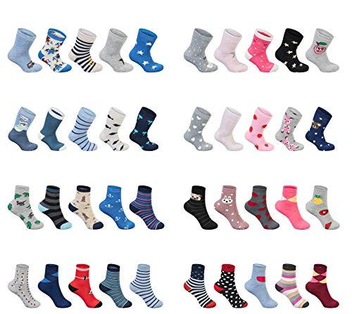 SG-WEAR 12 Paar Kinder Thermosocken für Jungen & Mädchen mit hohem Baumwollanteil warme bunte Thermo Socken in verschiedenen Motiven/Wintersocken in Größe 23-26, 27-30, 31-34, 35-38 (31-34, Girls)