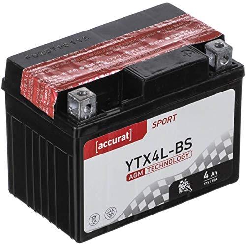 Accurat Motorradbatterie YTX4L-BS 4Ah 55A 12V AGM Roller Starterbatterie Erstausrüsterqualität rüttelfest leistungsstark wartungsfrei