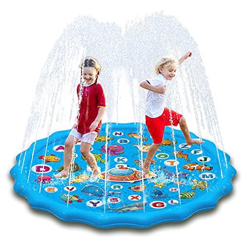 Paochocky Podkładka do zabawy dla dzieci zraszacz podkładka do zabawy, 152 cm zraszacz rozprysk woda podkładka zabawki basen do nauki alfabetu, lato na zewnątrz woda zabawa zraszacze gry ogród plaża spray mata zabawki prezenty dla chłopców dziewcząt