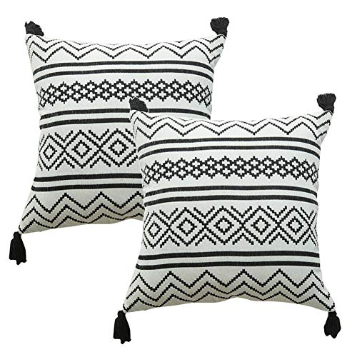 Set of 2 Throw Pillow Covers 18x18 Inches, Decorative Geometric Square Pillowcases Tassel Cushion Cover for Sofa Couch Chair Bed Car Farmhouse Home Décor
