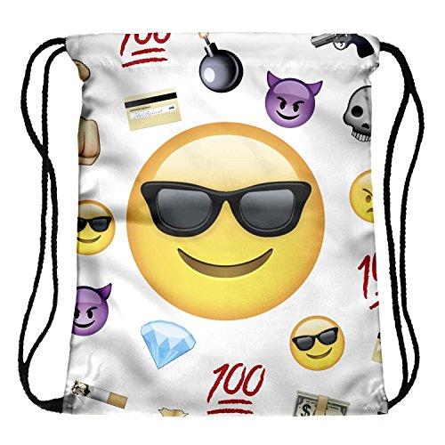 Tskybag Turnbeutel, Rucksack, Reisetasche, mit Kordelzug, Sporttasche für Jungen, Mädchen, Teenager, Emoji Thug