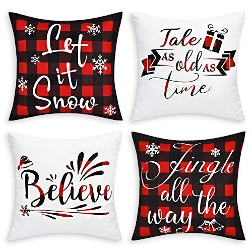 Elloevn 4 Stücke Weihnachten Kissenbezüge 45x45 cm, Klassische Rot Schwarz Karierte Weihnachtskissenbezug Dekokissen Kissenhülle, Weiße Wurfkissenbezug Waschbare Zierkissen für Weihnachten Neu Jahr.