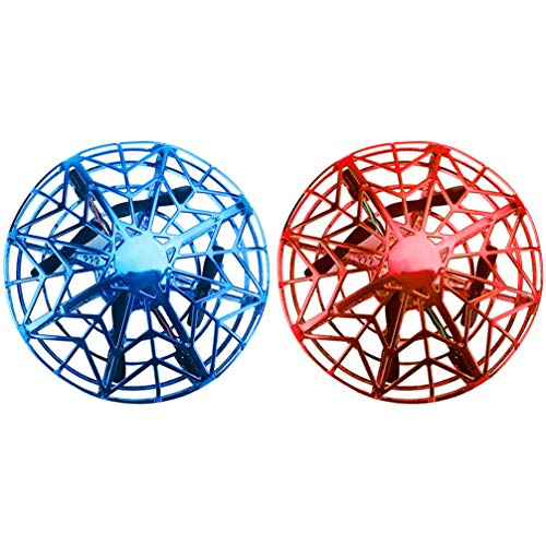 IMIKEYA 2 Pcs Mini Hand Operated Drone for Kids Adults UFO Flying Ball Toys with Intelligent Induction Pocket Hover Toy Interactive Aircraft Toy