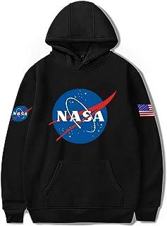 Hombre Sudadera con Capucha NASA Logo Manga Larga Deportiva Estampado Bandera Logo Ropa para Mujer