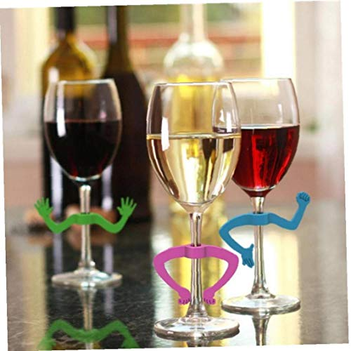 Ruluti 6pcs Silicona Copa De Vino Marcadores, Marcadores De La Bebida, De Silicona del Reconocedor Marcadores De La Barra del Partido Decoración De La Mesa Principal (Color Azar)
