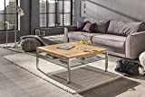 Couchtisch Wohnzimmertisch Mo Eiche Bianco70x70 cm + Ablage aus Glas Stabiler Massivholztisch aus Eichenholz auf gebürsteten Edelstahlfüssen. Erhältlich auch in verschiedenen Anderen Variationen.