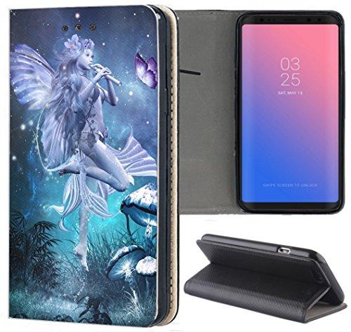 Samsung Galaxy S7 Edge G935F Hülle Premium Smart Einseitig Flipcover Hülle Samsung Galaxy S7 Edge G935F Flip Case Handyhülle Samsung Galaxy S7 Edge G935F Motiv (1277 Manga Elfe Türkis Blau)