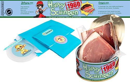 Happy Schinken   200 Gramm Schwarzwälder Schinken in der Dose   Personalisiert mit Wunsch- Geburtsjahr und Namen   Geburtstagsgeschenk   Geschenk   Geschenkidee (1960)