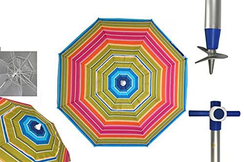 Pincho Sombrilla Marbella Playa/jardín Anti-VUELCO 2m Aluminio UPF+50 99% UV Punta de Aluminio Reforzado 16 Varillas (Multicolor)