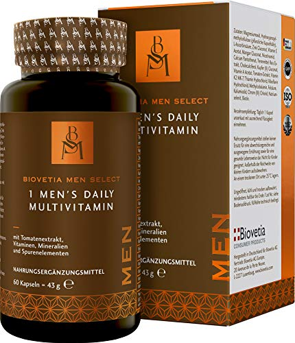 Biovetia One Men's Daily Multivitamin speziell für die Bedürfnisse von Männern entwickelt, Multivitamin Complete-Formel, mit allen Vitaminen und Mineralstoffe in nur 1 Kapsel täglich, 60 Kapseln