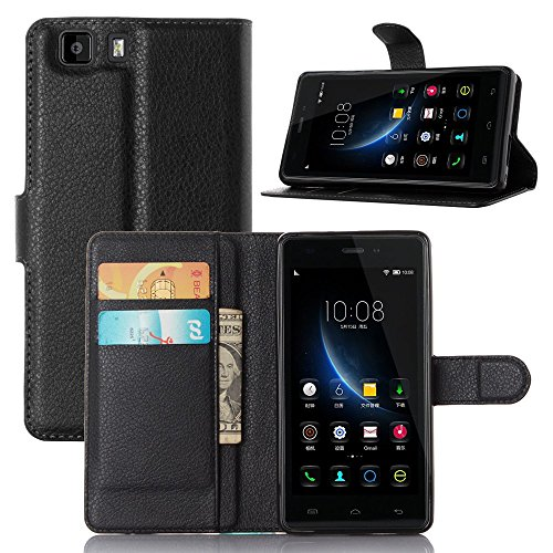 Tasche für DOOGEE X5 / X5 Pro / X5S Hülle, Ycloud PU Ledertasche Flip Cover Wallet Case Handyhülle mit Stand Function Credit Card Slots Bookstyle Purse Design schwarz