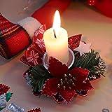 Bibivisa 3X Weihnachten Kerzenhalter, Bereift Tannen Kerzenständer Dekoration Weihnachtsstern Glitzer, Christmas Kerzenlicht Weihnachtskerze Stehen für Weihnachten Tischdeko Advent Deko - 5