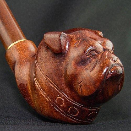 19,0センチ。「ブルドッグ」冷却を&9ミリメートルフィルタのロング木彫りの喫煙パイプ。'Bulldog'. Long carved wooden smoking pipe with cooling & for 9mm filter. 世界的な船積み。