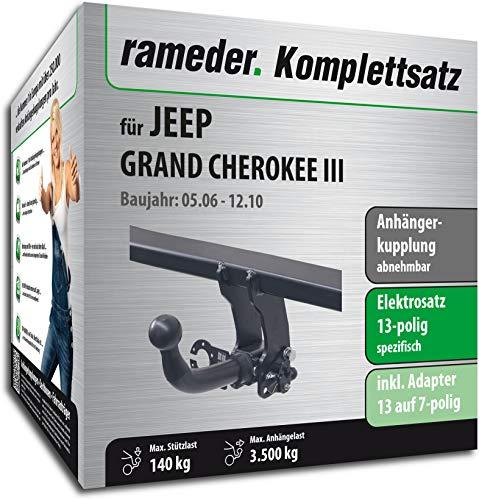 Rameder Komplettsatz, Anhängerkupplung abnehmbar + 13pol Elektrik für Jeep Grand Cherokee III (122058-05438-2)