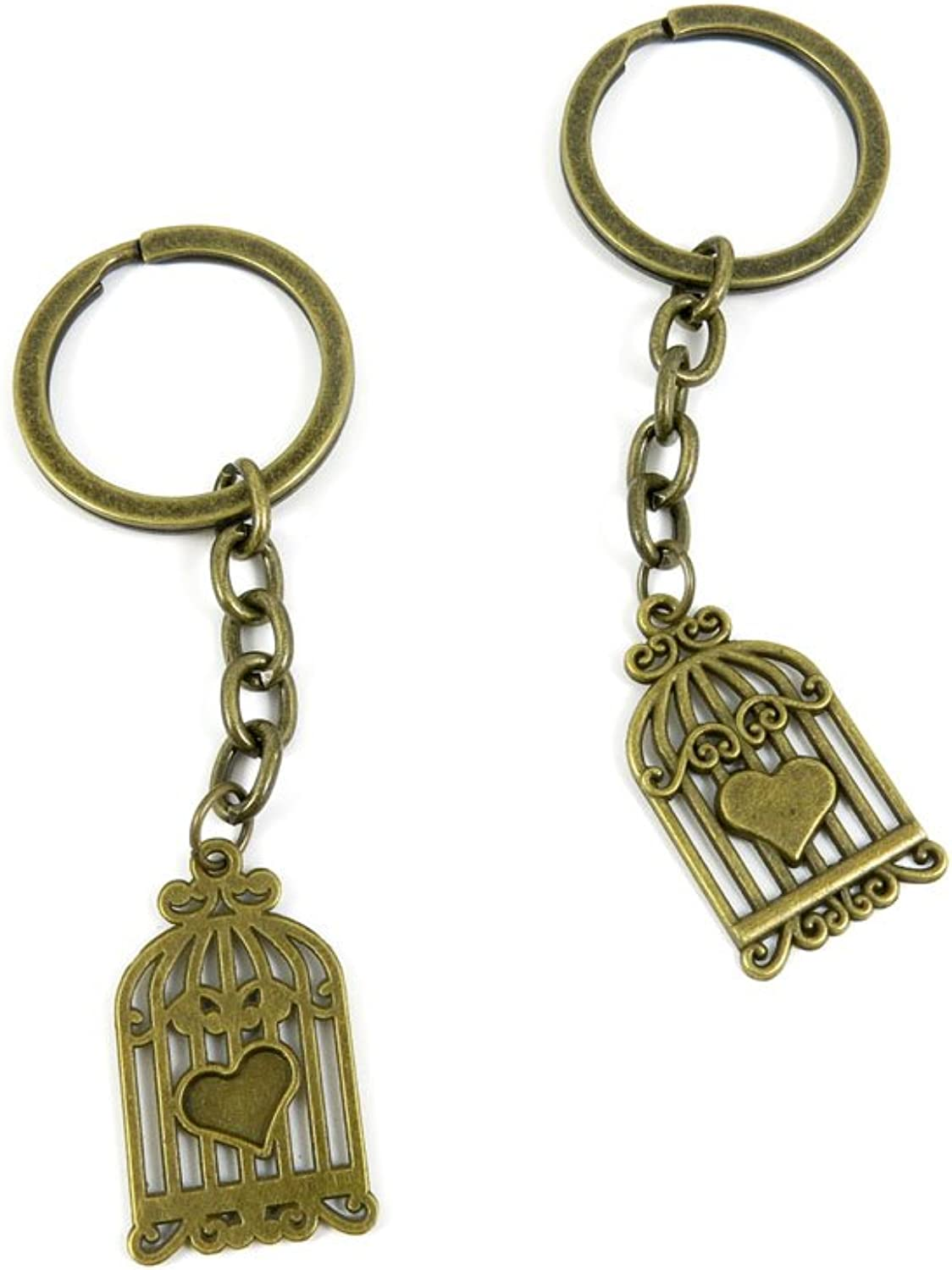 80 PCS Keyring Car Door Key Ring Tag Chain Keychain Wholesale Suppliers Charms Handmade M5MX3 Bird Cage Birdcage