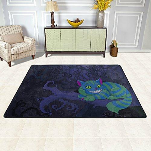 ISAOA Teppich Cheshire Cat, modern, bequem , 90 x 60 cm, strapazierfähig, Läufer für Türmatte, Küche, Esszimmer, Wohnzimmer, Flur, Badezimmer, Haustier, Eingang