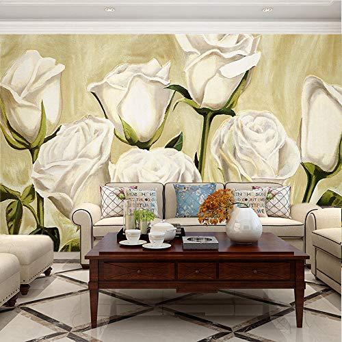 Fotomural Vinilo Pared Rosa Blanca 400x280cm/157x110in(Wxh) Murales De Pared 3D Sala De Estar Fondo Papel Pintado De No Tejido Fotomurales Decorativos Pared