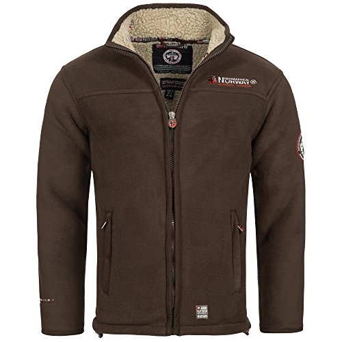 Geographical Norway - Giacca in pile Ureka da uomo, con calda fodera in pelliccia marrone XXL