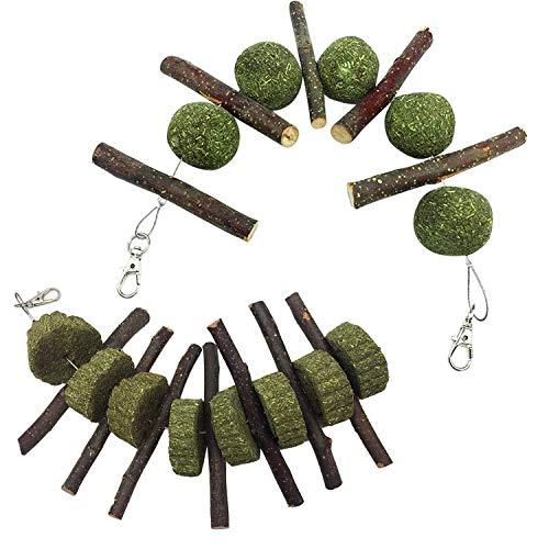 Beetest Petits Animaux de Compagnie à grignoter des bâtons de Branches de Pommier avec des gâteaux à l'herbe pour Lapins Chinchilla cobayes Hamsters perroquets