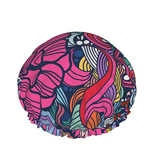 Double Layers Shower Cap,Vector Underwater Landscape With Fish And Plants,Reusable Waterproof Elastic Bath Caps for All Hair Lengths-style11-1pcs