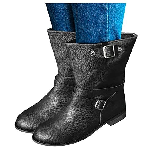 Dasongff Botines anchos para mujer, botas altas con tacón clásico, botas de vaquero, botas largas para mujer, botas de nieve, botas Chelsea, impermeables, vintage, elegantes botas de equitación