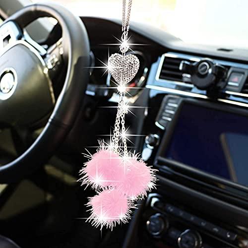 Colgantes de Coche Adorno de Espejo Retrovisor, BKJJ Colgante de Cristal, Accesorios Relucientes para el Automóvil, Hermosos Colgantes de la Suerte, Cristales y Pelo de Visón (Rosa)