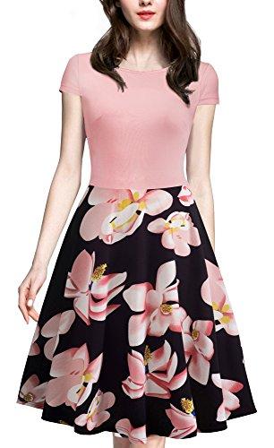 HOMEYEE Women's 1950s Vintage Elegant Cap Sleeve Swing Party Dress A009 (L, Light Pink)