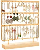 DHMK Earring Stand Organizer Jewelry Display Rack 3-Tier Ear Stud Holder Jewelry 69 Holes with Wood Base Stand Display Rack for Women Girls Earring Holders (Gold)